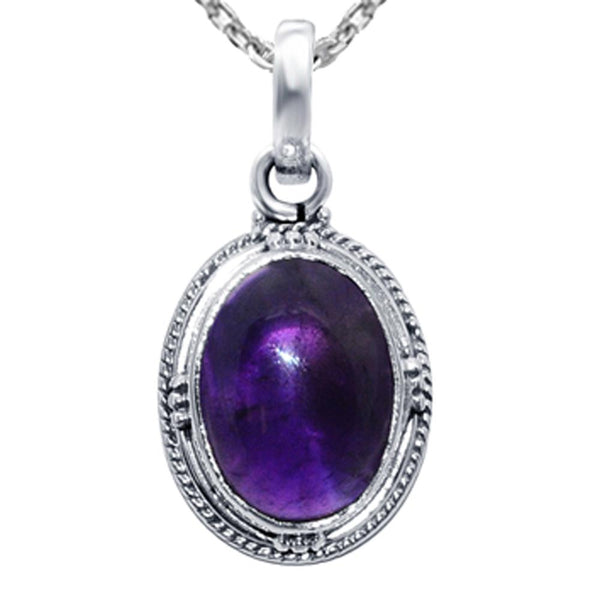 Orchid Jewelry 925 Sterling Silver Birthstone Oval Shape Pendant Necklace with Turquoise and Amethyst