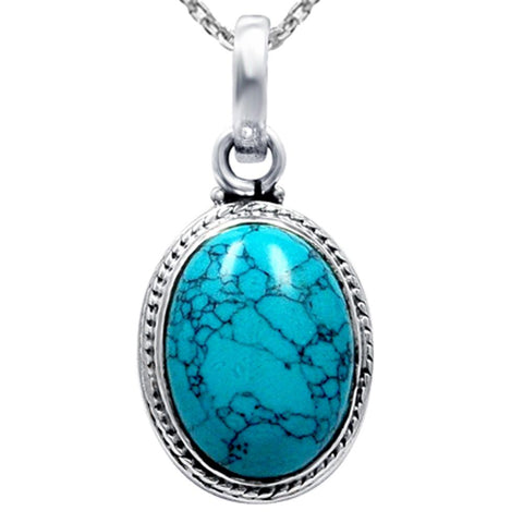 Orchid Jewelry Handmade Sterling Silver Oval Cabochon Pendant Necklace with Turquoise and Malachite