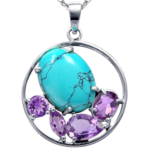 Orchid Jewelry Sterling Silver Turquoise with Amethyst and White Topaz Circle Gemstone Pendant
