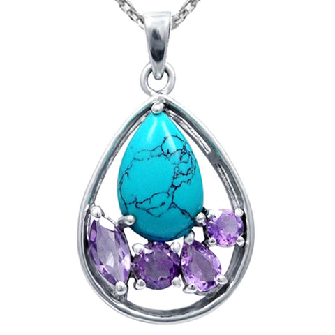 Orchid Jewelry Sterling Silver Turquoise with Amethyst and White Topaz Gemstone Teardrop Pendant