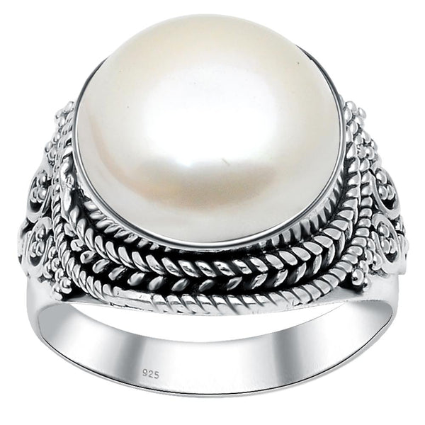 Orchid Jewelry Sterling Silver Handmade Oxidized 8 Carat Cultured Pearl Birthstone Ring