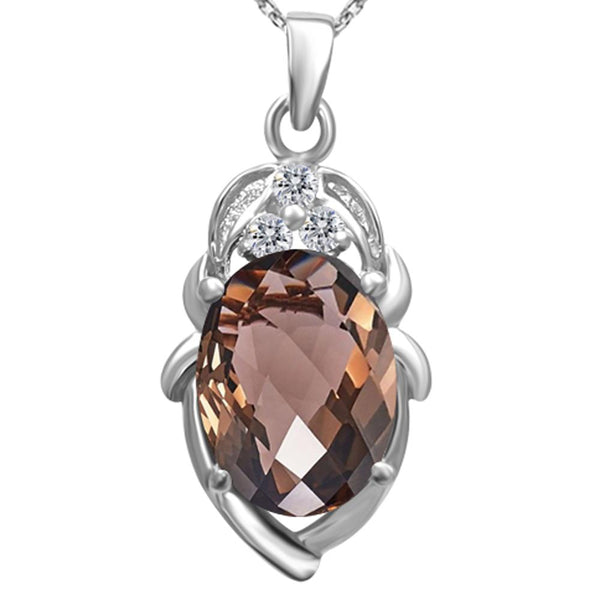 Orchid jewelry 925 Sterling Silver 7.70 Carat Oval Cut Smoky Quartz & White Topaz Pendant Necklace