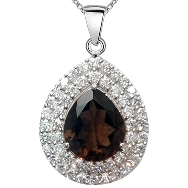 Orchid Jewelry 6.20 Carat Smoky Quartz & CZ Teardrop Halo Necklace in 925 Sterling Silver
