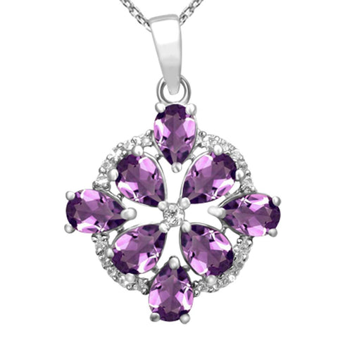 Orchid Jewelry 925 Sterling Silver Genuine Amethyst & White Topaz Cluster Pendant Necklace