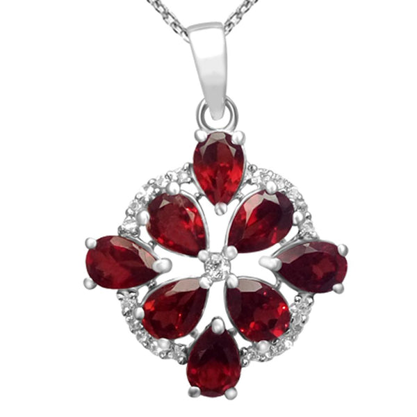 Orchid Jewelry 925 Sterling Silver Genuine Garnet & White Topaz Cluster Pendant Necklace