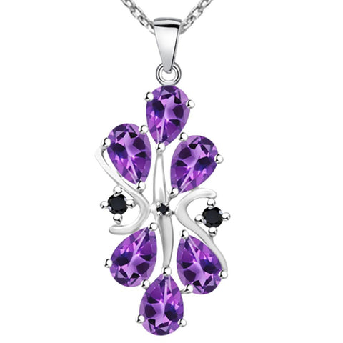 Orchid Jewelry Sterling Silver Pear Shape Gemstone and White Topaz Cluster Necklace with Choice of Gemstones