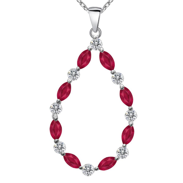 Orchid Jewelry 925 Sterling Silver Marquise Cut Ruby & CZ Teardrop Pendant Necklace