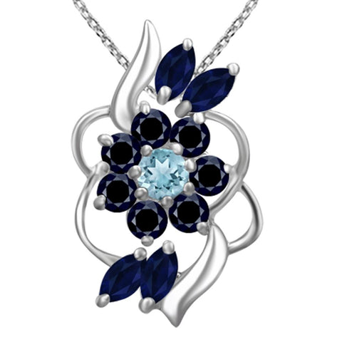 Orchid Jewelry 925 Sterling Silver Blue Topaz and Sapphire Delicate Wave Pendant Necklace