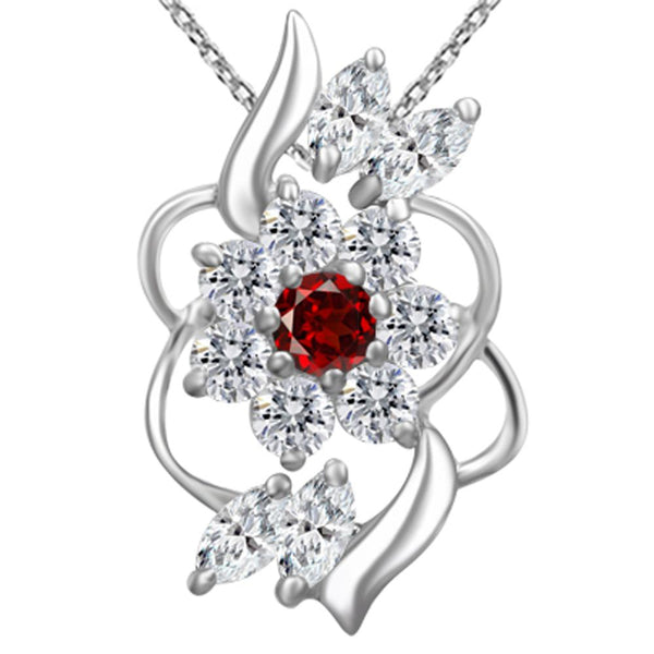 Orchid Jewelry 925 Sterling Silver Garnet and White Topaz Delicate Wave Pendant Necklace
