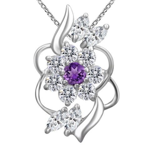 Orchid Jewelry 925 Sterling Silver Amethyst and White Topaz Delicate Wave Pendant Necklace