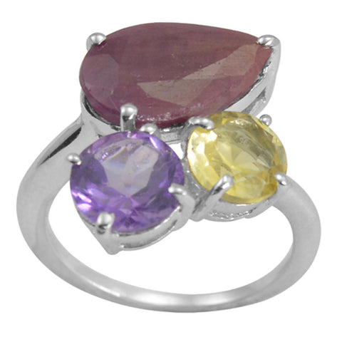 Orchid Jewelry 9.37 Carat Genuine Ruby, Citrine & Amethyst Beautiful and Stylish Ring in 925 Sterling Silver