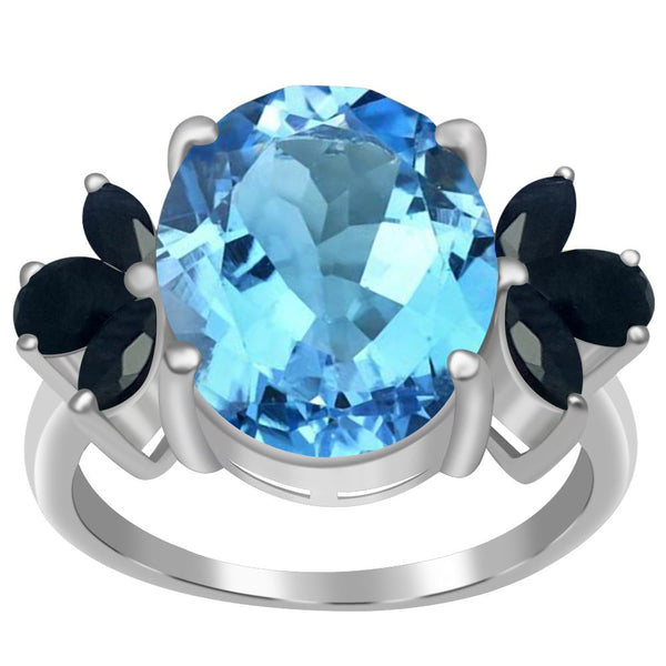 Orchid Jewelry 5.65 TCW Oval-Cut Genuine Gemstone Cocktail Ring in 925 Sterling Silver