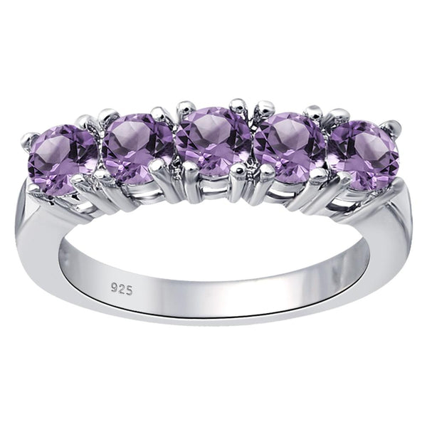 Orchid Jewelry Sterling Silver 1.25 Ct. Amethyst Five Stone Anniversary Ring