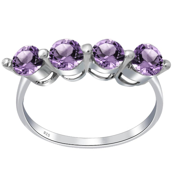 Orchid Jewelry Sterling Silver 1 Ct. Amethyst, Garnet, Blue Topaz, Citrine Stackable Rings