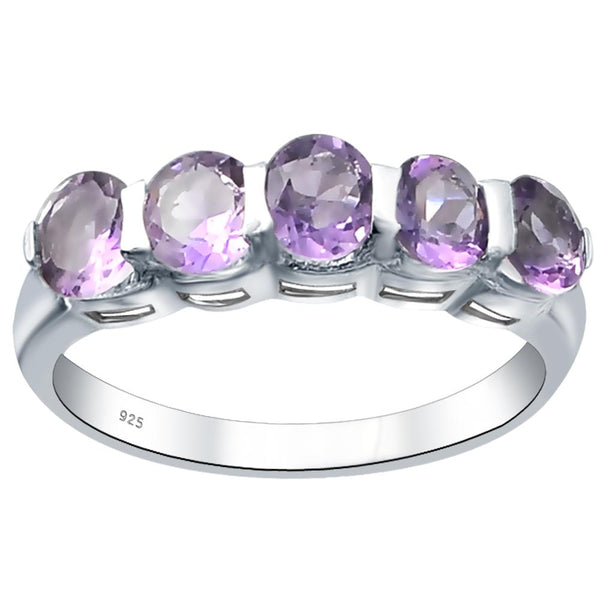 Orchid Jewelry Sterling Silver Five Stone Ring With Amethyst, Blue Topaz, Sapphire