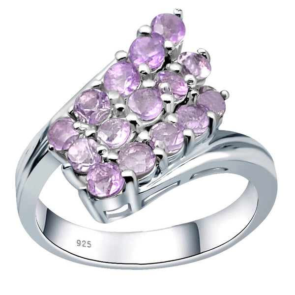 Orchid Jewelry Beautiful Amethyst, Citrine & Emerald Sterling Silver Twisted Cluster Ring For Girls
