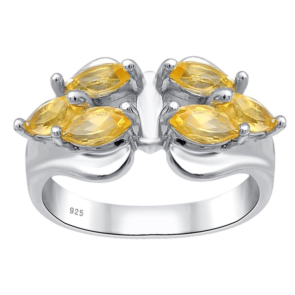 Orchid Jewelry Sterling Silver 1.20 Carat Citrine Gemstone Engagement Ring