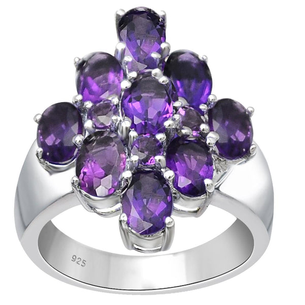 Orchid Jewelry 925 Sterling Silver Cluster Gemstone Ring With Choice of Gemstones