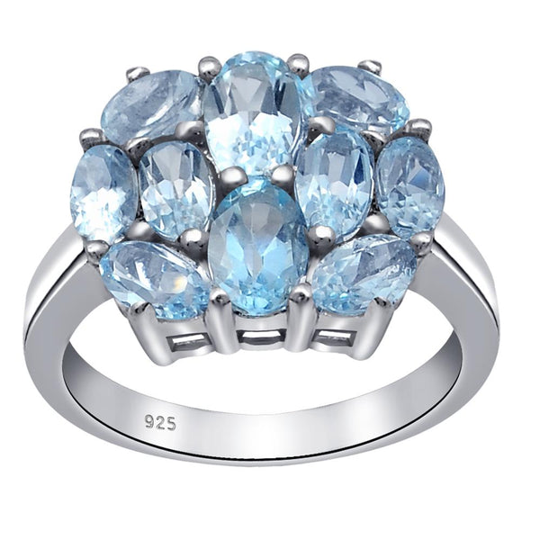 Orchid Jewelry 3.50 Carat Oval Shape Blue Topaz, Garnet, Emerald Cluster Ring Sterling Silver