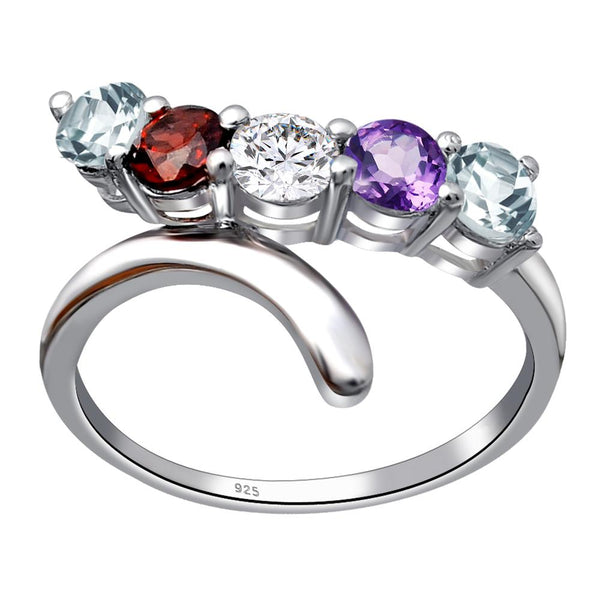 Orchid Jewelry 925 Sterling Silver 1.35 Carat Multi 5-Stone Twisted Ring