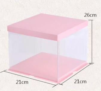 Cake Box 21x21cm   2 layer cake  Pink Top and Bottom