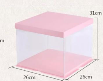 Cake Box 26cm dia Double Layer cake  Pink top and Bottom