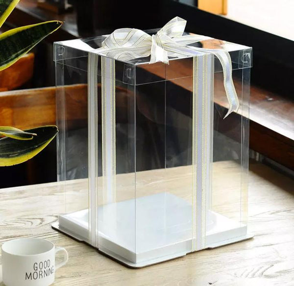 Cake Box 21x21cm Clear: BLACK  base : 2 Layer (2 Tier) cake