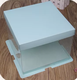Cake Box 26cm-dia   Blue Top and Bottom 2 Layer (2 tier)