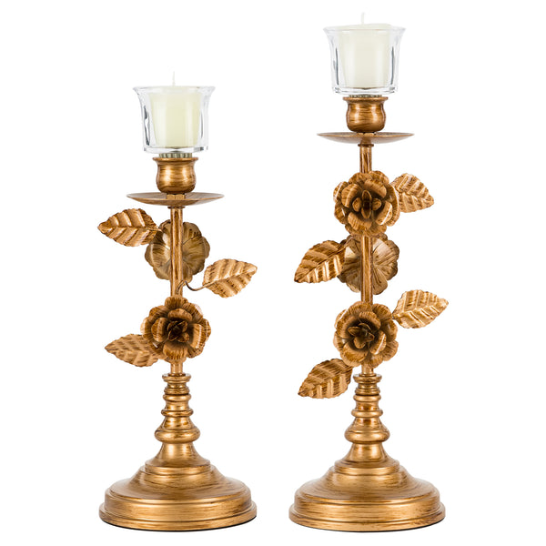 Vintage Floral 2-Piece Candelabra Set | Gold | Madeleine Collection