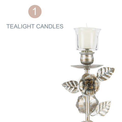 Vintage Floral 2-Piece Candelabra Set | Silver | Madeleine Collection