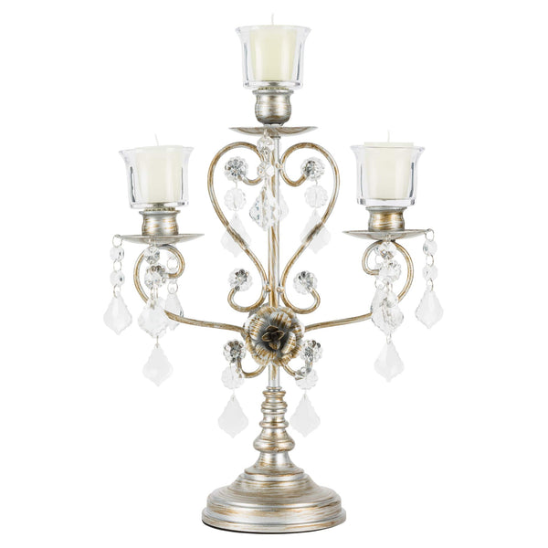 Vintage Silver 3-Light Candelabra Centerpiece | Amalfi Decor AU