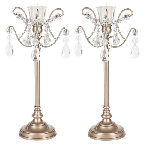 Set of 2 Light Candlestick Holder with Glass Crystals | White | Tiffany Collection