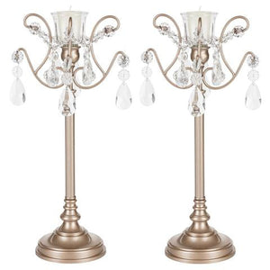 Set of 2 Light Candlestick Holder with Glass Crystals | White | Tiffany Collection CD211TW