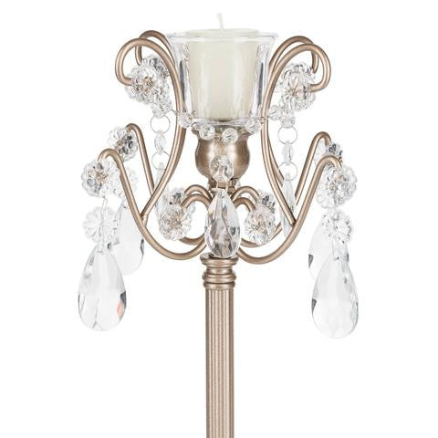 Set of 2 Light Candlestick Holder with Glass Crystals | Champagne | Tiffany Collection
