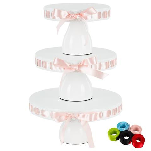 3-Piece White Modern Ribbon Cake Stand Set | Amalfi Decor AU