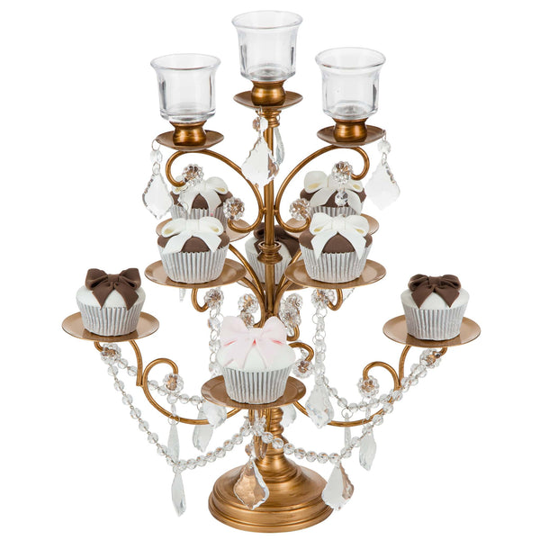 8-Piece Crystal-Draped Gold Cupcake Stand | Amalfi Decor Australia