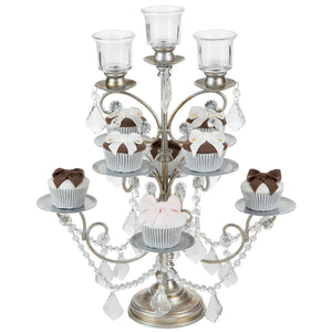 8-Piece Crystal-Draped Silver Cupcake Stand | Amalfi Decor AU