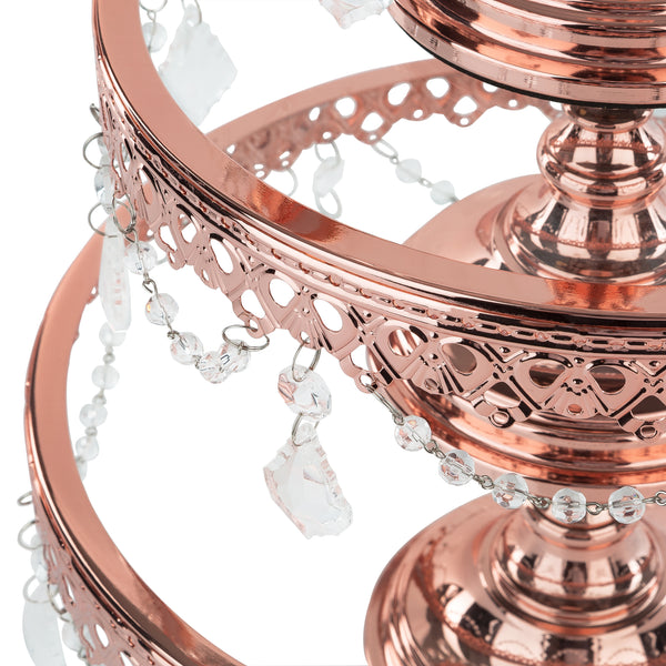 3-Piece Glass Cake Stand Set Plated Rose Gold by Amalfi Decor AU