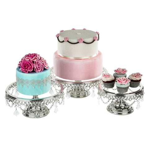 3-Piece Glass Cake Stand Set Chrome Silver Plated by Amalfi Decor AU