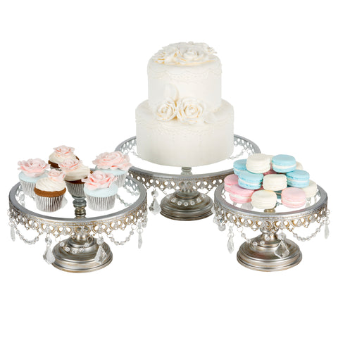 3-Piece Glass top crystal Cake stand set