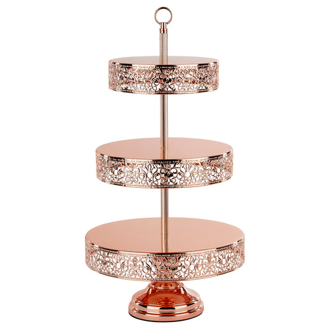 3-Tier Shiny Metallic Rose Gold Plated Dessert Cupcake Stand | Amalfi Decor AU