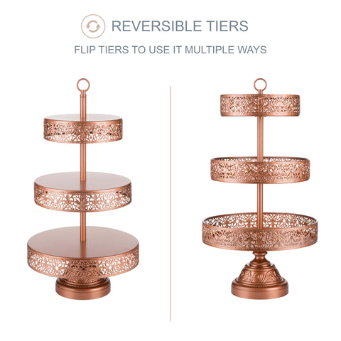 3-Tier Rose Gold Reversible Cupcake Stand | Amalfi Decor AU