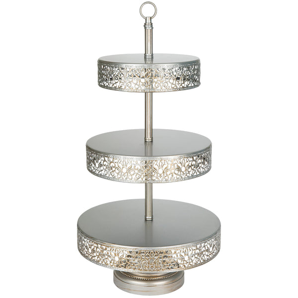 3-Tier Antique Silver Reversible Cupcake Stand | Amalfi Decor AU
