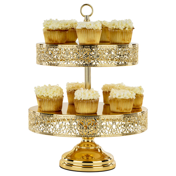 2 Tier Plated Gold Reversible Cupcake Stand Amalfi Decor Au
