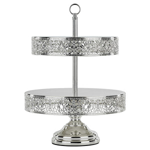 2-Tier Reversible Cupcake Stand | Silver Plated | Le Gala Collection  CS304VSX