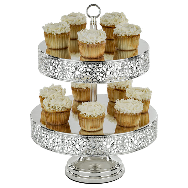 2-Tier Reversible Cupcake Stand | Silver Plated | Le Gala Collection