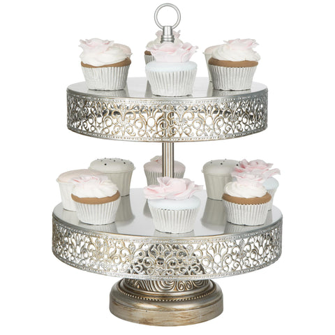 2-Tier Antique Silver Reversible Cupcake Stand | Amalfi Decor AU