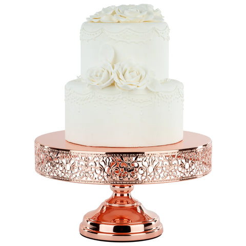 12-Inch (30 cm) Shiny Rose Gold Plated Cake Stand | Amalfi Decor AU