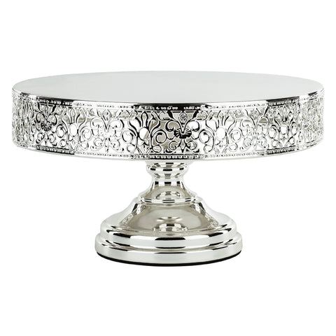 12-Inch (30 cm) Shiny Chrome Silver Plated Cake Stand | Amalfi Decor AU
