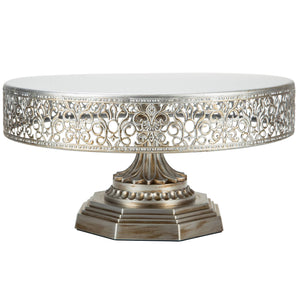 12-Inch Antique Silver Metal Wedding Cake Stand | Amalfi Decor AU